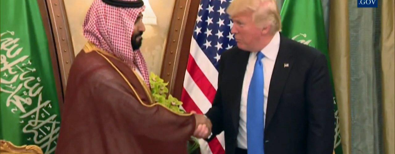 President Trump Shaking Hands WIth Deputy Crown Prince Of Saudia Arabia