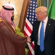 President Trump Shaking Hands WIth Deputy Crown Prince Of Saudia Arabia