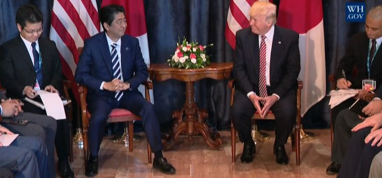 Prime Minister Abe And President Trump Hold Meeting On North Korea