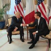 President Trump And Strong Handshake With New President Macron