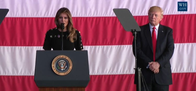 Stunning First Lady Melania Trump Reflects On Trip With Soldiers